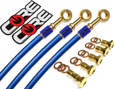 Kawasaki ZX10R non ABS 2011-2015 Front and rear brake line kit translucent blue lines 24k gold plated kit