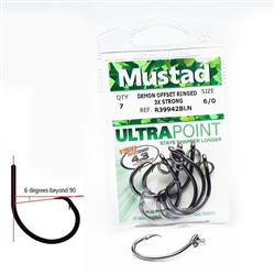 MUSTAD 39950NP-BL CATFISH DEMON CIRCLE NON OFFSET HOOKS  #1  (10 PACK- poly bag))