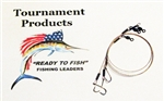 """READY TO FISH"" SURFLON CABLE LEADER WITH HOOK 6"" (3 PACK)"