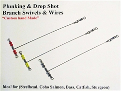 "PLUNKING & DROP SHOT - 3 WAY SPREADER WIRE WITH SWIVEL 6"" x 2"" - RED BEADS"