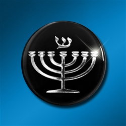 Laptop/Technology Shield: Menorah Silver on Black