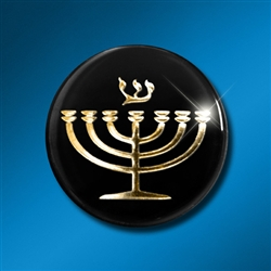 Laptop/Technology Shield: Menorah Gold on Black