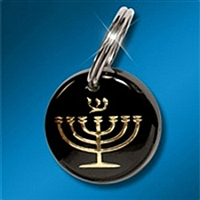 Key Ring: Expressions of Faith - Menorah Gold on Black