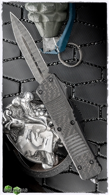 Microtech Custom Combat Troodon D/E Damascus Blade Carbon Fiber Top