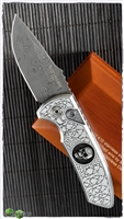 Protech SBR Ultimate Custom Shaw Skull Engraved Steel W/Damascus Blade