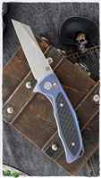 "Artisan Cutlery Megahawk Flipper, 3.62"" S35VN Wharncliffe Blade, Blue Ti Handles with Carbon Fiber Inlays"
