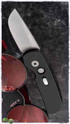 Protech CalMigo CA Legal w/ Safety 2201  Black Handle Blasted Blade