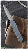 "H&K Incursion OTF Automatic Grey Aluminum, 3.9"" Tumbled Bayonet, 154CM"
