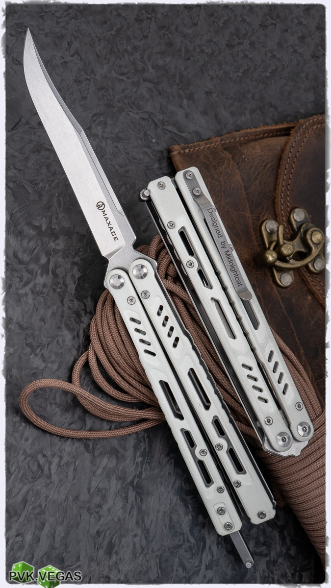 Maxace Knives Banshee Balisong Clip Point White G10