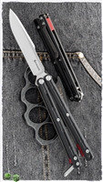 Maxace Knives Serpent Striker II Balisong Two-Tone Satin Stonewash Drop Point Black G10