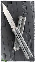 Maxace Knives Serpent Striker II Balisong Two-Tone Satin Stonewash Tanto Grey G10