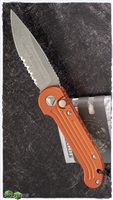 Microtech LUDT Auto 135-11APOR Orange Handle AP Finish Serrated Blade