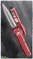 Microtech Ultratech D/E 122-D12DRD Double Full Serrated Apocalyptic Blade Distressed Red