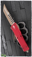 Microtech Combat Troodon 219-13RD Hellhound Signature Series Bronzed Blade & Hardware Red Handle