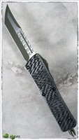LTD Microtech Combat Troodon Hell Hound CF Top Green Blade & Hardware SN003