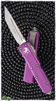Microtech UTX-85 T/E 233-4VI Satin Blade Violet Handle