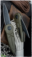 Paragon Warlock Gravity Blade Trap Folder OD Green Handle with Sword Black Blade with Cross