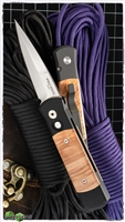 Protech Godson Auto 706 Black Handle - Dyed Box Elder Wood Inlay - Satin Blade
