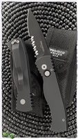 Protech Auto TR-2.4 Black Smooth Handle Black Serrated Blade