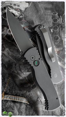 Protech TR-2 OPERATOR STERILE Black Smooth Handle Black Plain Edge Blade Black Hardware