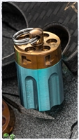 Bronze Top With Aqua Bottom Anodized Titanium Revolver Lanyard Bead Capsule