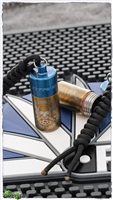 Bronze Top With Blue Bottom Anodized Titanium Lanyard Bead Capsule Knives