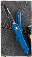 Microtech UTX-70 S/E 148-2BL Partial Serrated Black Blade Blue Handle *PRE ORDER*