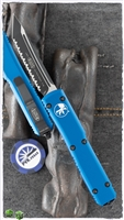 Microtech Ultratech D/A OTF T/E 123-3BL Black Fully Serrated Blade Blue Handle