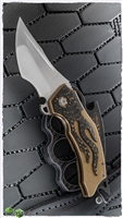 BURN Knives Custom Tomahawk Gold & Black Carbon Fiber Gold Ano Frame