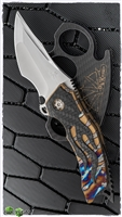 BURN Knives Custom Tomahawk Carbon Fiber Inlay Gold Ano & Flamed Frame