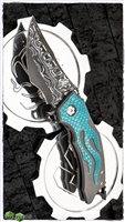 BURN Knives Custom Tomahawk Damascus Stelite Core with Aqua Dragon Inlay