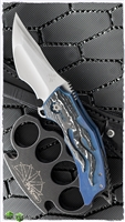 BURN Knives Custom Tomahawk Blue, White & Black Fat Carbon Blue Ano Frame