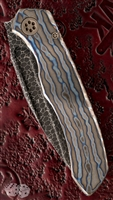 Marfione Custom Anax Folder Torched Titanium Handle Bearing Damascus Blade V2