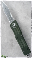 Microtech Combat Troodon D/E 142-11OD Stonwash Serrated Blade OD Green Handle