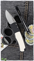 "Protech Magic ""Whiskers"" Scale Release CA Legal 2"" Stonewash Blade BR-1.51CA Auto Black Handle Micarta Inlay Tuxedo BR151CA"