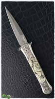 Protech Large Don Auto Ultimate Custom Damascus / Serpentine Stone
