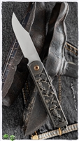 "2 Saints ""El Napo"" Bowie Friction Folder, Bronze Carved ""Skulls"" Handle"