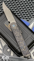 "2 Saints ""El Napo"" Gear Bowie Friction Folder, Bronze Carved ""Skulls"" Handle"