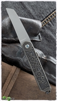 "2 Saints ""El Napo"" Gear Wharncliffe Friction Folder, Bronze Carved ""Gears"" Handle"