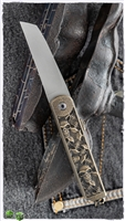 "2 Saints ""El Napo"" Catacomb Wharncliffe Friction Folder, Bronze Carved ""Skulls"" Handle"