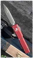 Microtech Ultratech D/E  122-12DRD Apocalyptic Full Serrated Distressed Red