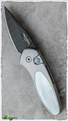 Custom Protech Sprint Auto Steel Handle Pearl Inlay Damascus Blade