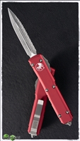 Microtech Ultratech D/E 122-6RD Satin Full Serrated Red Handle