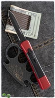 AKC Concord D/A OTF Black Dagger Blade Red Handle Black Inlay