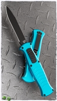 AKC X-Treme EVO OTF With Clip Light Blue Handle Black Button Black Blade