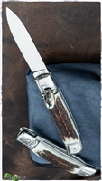 "AKC 8"" Italian Stiletto Leverlock Stag Automatic Knife"