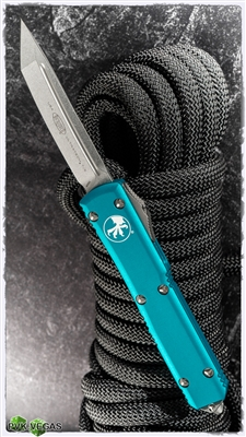Microtech Ultratech T/E 123-10TQ Stonewash Tanto Turquoise Handle