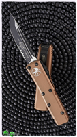 Microtech UTX-85 T/E 233-2TA Black Blade Serrated Tan Handle