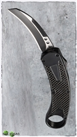 Carbon Fiber D/A OTF Auto Black Handle Karambit Two-Tone Blade