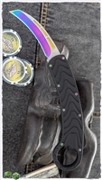 OTF D/A Auto Karambit Iridescent Hardware & Blade Textured Arrow Handle